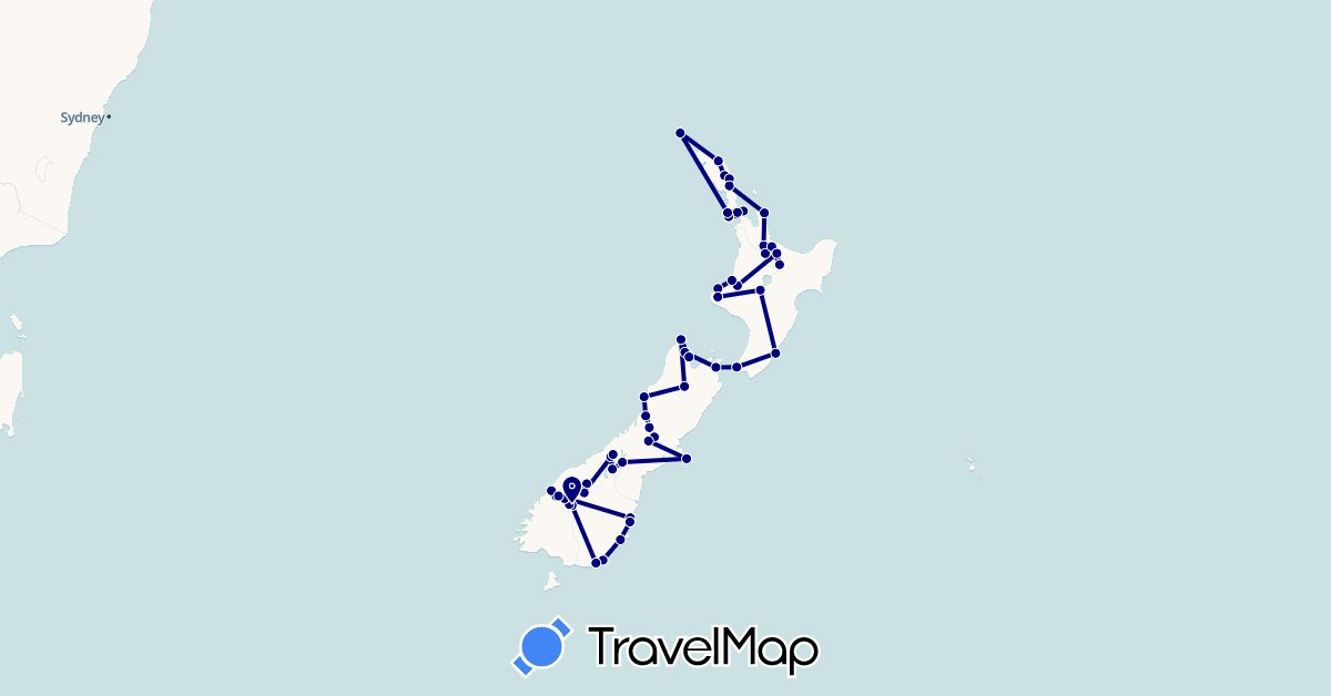 TravelMap itinerary: driving in New Zealand (Oceania)